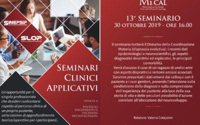 13° Seminario Clinico Applicativo – 30 ottobre 2019