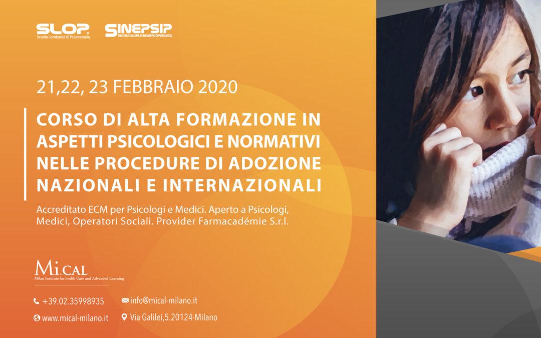 Corso di Alta Formazione in aspetti psicologici e normativi nelle procedure di adozione nazionali e internazionali – 21,22,23 febbraio 20