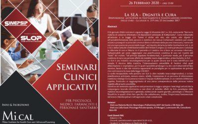 16° Seminario Clinico Applicativo – 26 febbraio 2020 (ore 15:00)