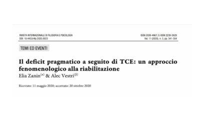 Il  deficit  pragmatico  a  seguito  di  TCE:  un  approccio fenomenologico alla riabilitazione.